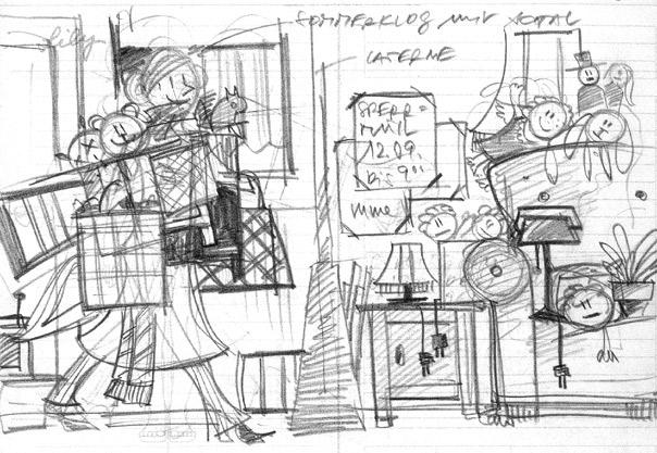 Erste Scribbles von Seitenlayout und Pose für das Finden von Dingen auf dem Sperrmüll für Lily Lux