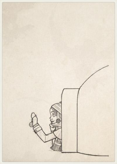 Originalzeichnung der Pose für die Begeisterung im Iglu und beim Schmücken der kleinen Tanne im Schnee mit Meisenknödeln für Lily Lux