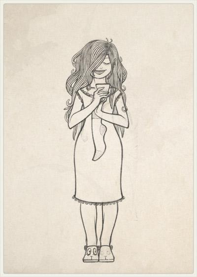 Originalzeichnung der Pose für das Spurenlesen von Zettelchen und Wollsocken des Liebsten im Nachthemd für Lily Lux