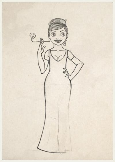 Originalzeichnung der Pose für die mondäne Erfinderin von sich selbst im Abendkleid für Lily Lux