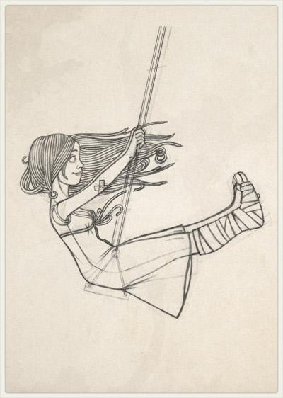 Originalzeichnung der Pose für das Glück im Unglück mit Gipsbein auf der Schaukel am Kirschbaum für Lily Lux