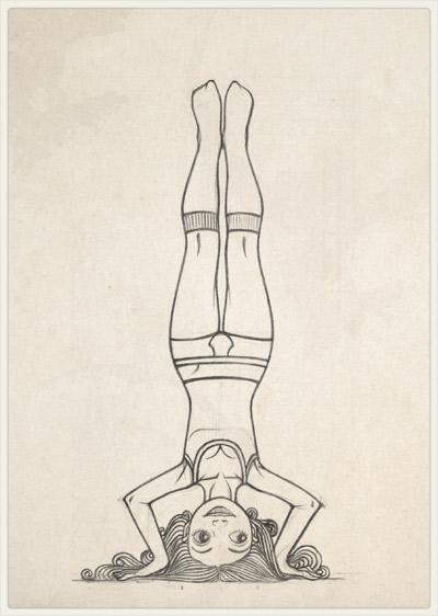 Originalzeichnung der Pose für den Perspektivwechsel im Kopfstand und mit Herrenunterwäsche für Lily Lux