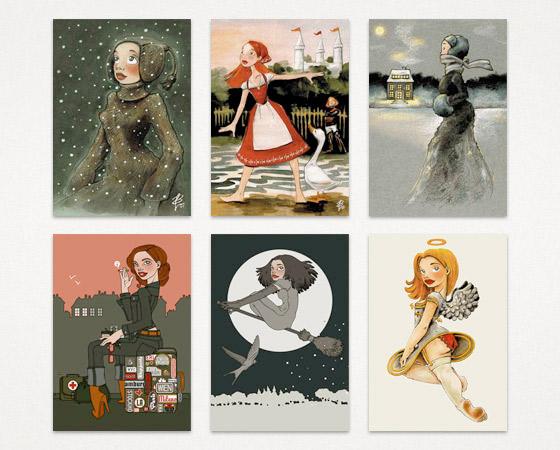 Brandneue Postkarten zum Verkauf in der Ausstellung Illustrationen im Ballhaus