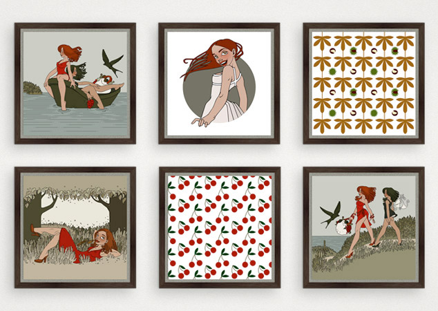 Kunstdrucke aus der Serie Sommerfrische mit Kirschmustern, Kastanienmustern, Picknick, Ausflug und Wind im Haar für Druckstock