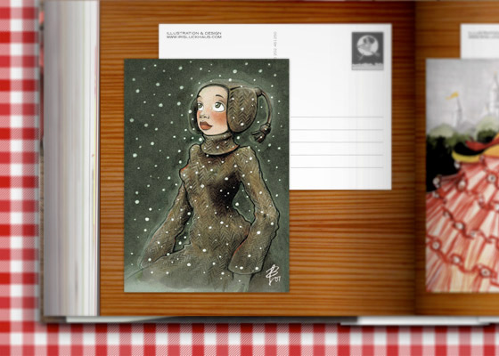 Schneemädchen Postkarte im Zeixs Cube Best of Greeting Cards