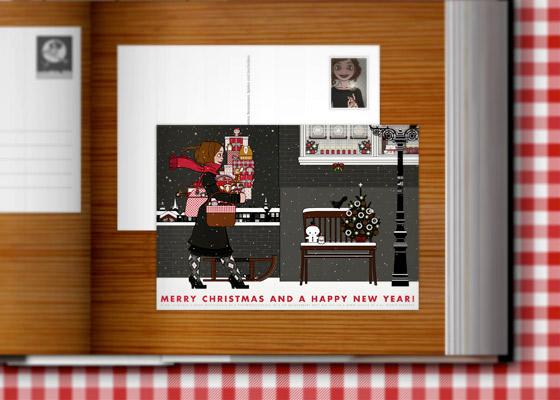 Lily Lux Weihnachtskarte mit Geschenken auf der Straße
