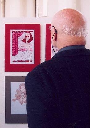 Fotos von den Arbeiten von Iris Luckhaus in der Illustrationen im Ballhaus Ausstellung
