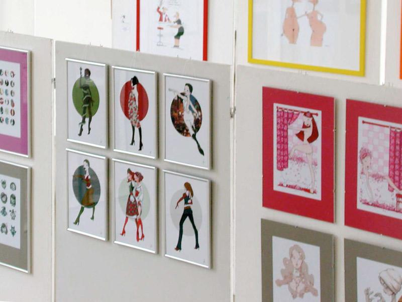 Fotos der Illustrationen im Ballhaus Ausstellung