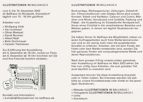 Flyer zur Ausstellung Illustrationen im Ballhaus II im Düsseldorfer Nordpark