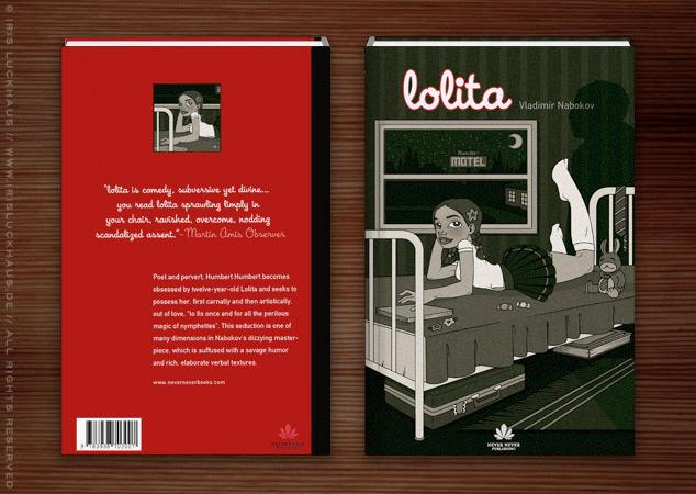 Illustration eines auf einem Hotelbet liegenden Mädchens als Umschlag für das Buch Lolita