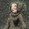 Wintermädchen mit Neuschnee