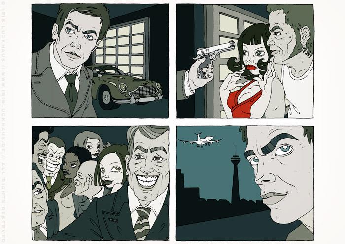 Illustrationen im Film Noir Comic Stil zur Krimi Geschichte Ricos Tod mit Detektiv, Jaguar, Party, Pistole und fiesen Typen von Jagomir Krohm für das Penthouse Magazin
