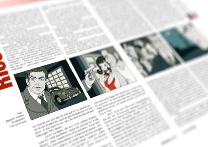 Illustrationen im Film Noir Comic Stil zu Krimi Geschichten von Jagomir Krohm für das Penthouse Magazin von Iris Luckhaus