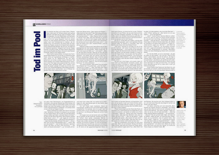 Penthouse Magazin mit Illustrationen im Film Noir Comic Stil zur Krimi Geschichte Ricos Tod mit Detektiv, Pinups, Models, Whirlpool und Party von Jagomir Krohm