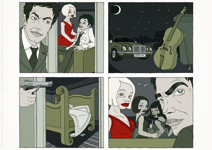 Illustrationen im Film Noir Comic Stil zur Krimi Geschichte Das Cello mit Detektiv, Liebhabern, Jaguar, Damen, Bett, Cello und Violine von Jagomir Krohm für das Penthouse Magazin