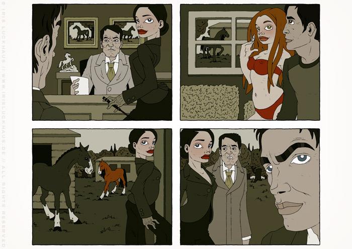 Illustrationen im Film Noir Comic Stil zur Krimi Geschichte Schwarze Hoffnung mit Detektiv, Pferderennen, Pferden, Joyckeys, Ställen und Liebhabern von Jagomir Krohm für das Penthouse Magazin