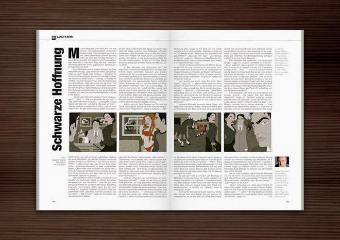 Penthouse Magazin mit Illustrationen im Film Noir Comic Stil zur Krimi Geschichte Schwarze Hoffnung mit Detektiv, Pferderennen, Pferden, Joyckeys, Ställen und Liebhabern von Jagomir Krohm