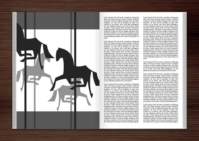 Magazin mit der Vektor-Zeichnung von einem schwarzweißen Karussell mit Holzpferdchen