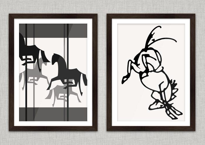 Poster mit Zeichnungen von Pferden, einem wild austretenden Mustang und einem schwarzweißen Karussell mit Holzpferdchen