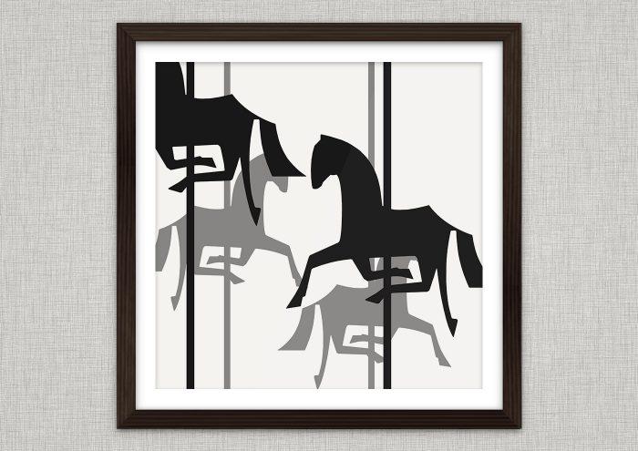 Poster mit der Vektor-Zeichnung von einem schwarzweißen Karussell mit Holzpferdchen