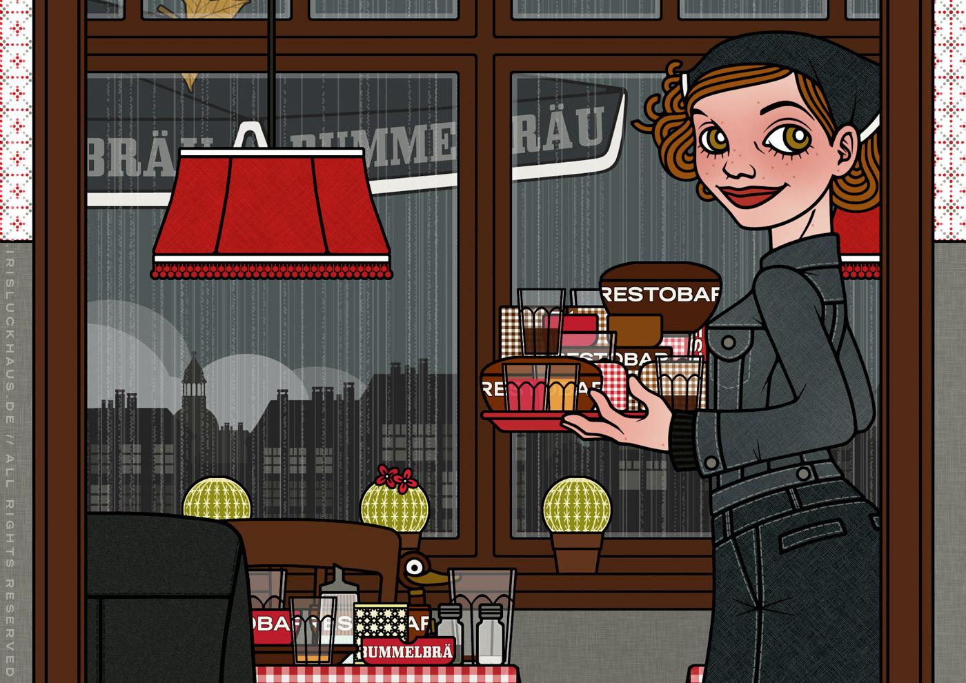 Zeichnung von einem Mädchen im Restaurant, das sich nicht entscheiden kann und daher einfach alles nimmt, für Lily Lux