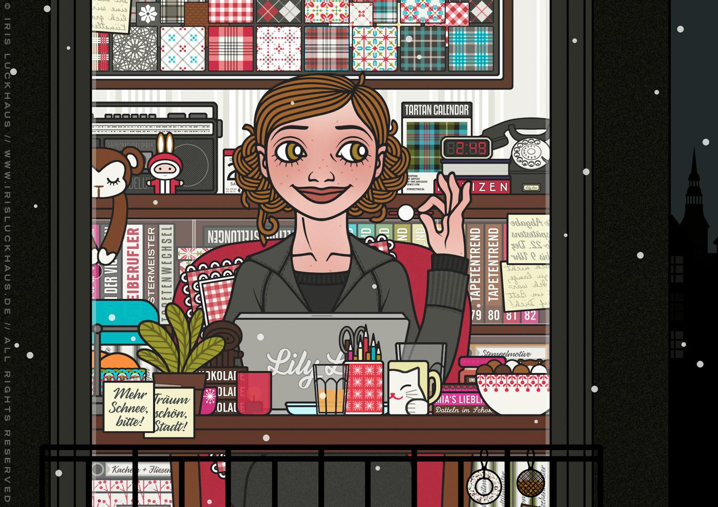 Zeichnung von einem Mädchen, das spät in der Nacht am Macbook oder Laptop arbeitet und dabei einen gemütlichen Sessel, Fußbad, Schokolade, Pralinen und Tee genießt, für Lily Lux