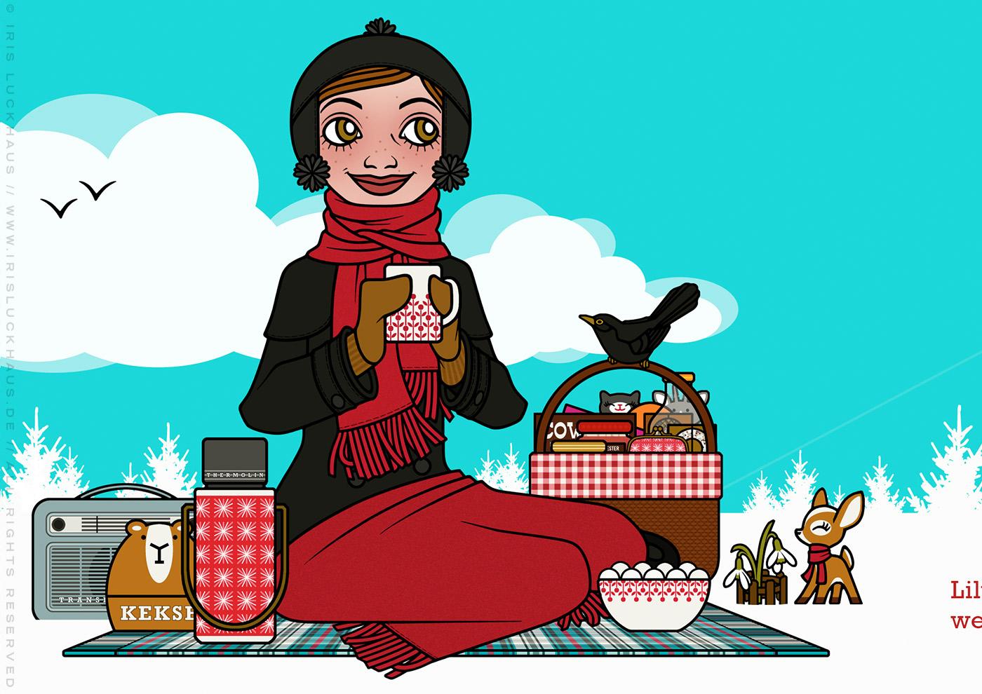 Zeichnung eines Mädchens, die zur Feier des ersten Schneeglöckchens ein Picknick im Schnee veranstaltet, für Lily Lux