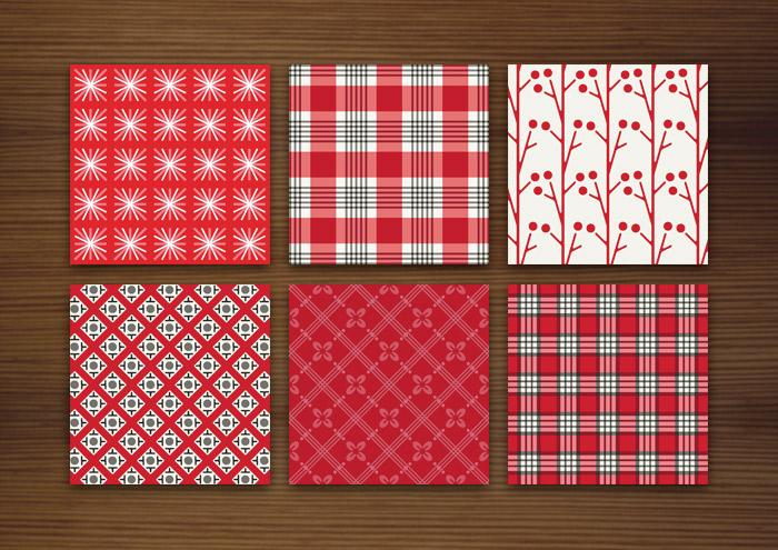 Grafik Design für rote Muster für Stoffe, Tapeten und Papier mit Karos, Sternchen, Beeren, Blumen und Kirschen für Lily Lux