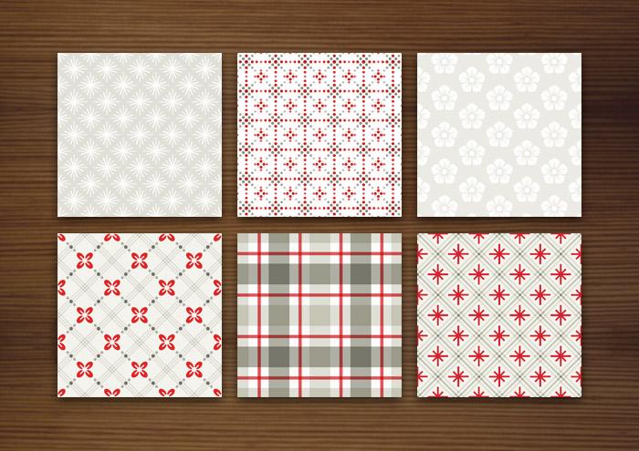 Grafik Design für helle Muster für Stoffe, Tapeten und Papier mit Karos, Sternchen, Beeren und Blumen für Lily Lux