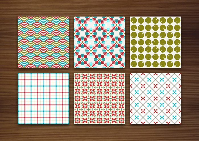 Grafik Design für bunte Muster für Stoffe, Tapeten und Papier mit Karos, Sternchen, Blättern, Wellen und Blumen für Lily Lux