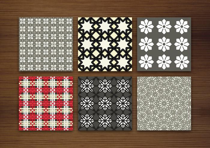 Grafik Design für dunkle Muster für Stoffe, Tapeten und Papier mit Karos, Sternen, Arabesken und Blumen für Lily Lux