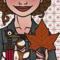 Lily Lux Passbild mit Herbstlaub und Kastanie