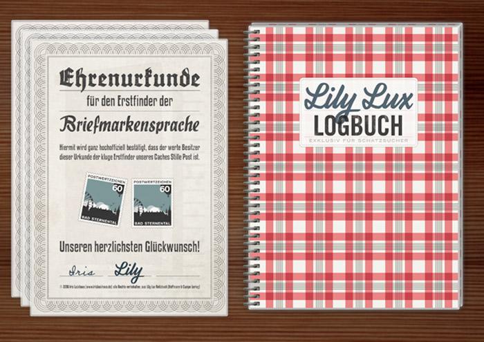 Lily Lux Ehrenurkunde und Logbuch zum Geocache Briefmarkensprache und Stille Post