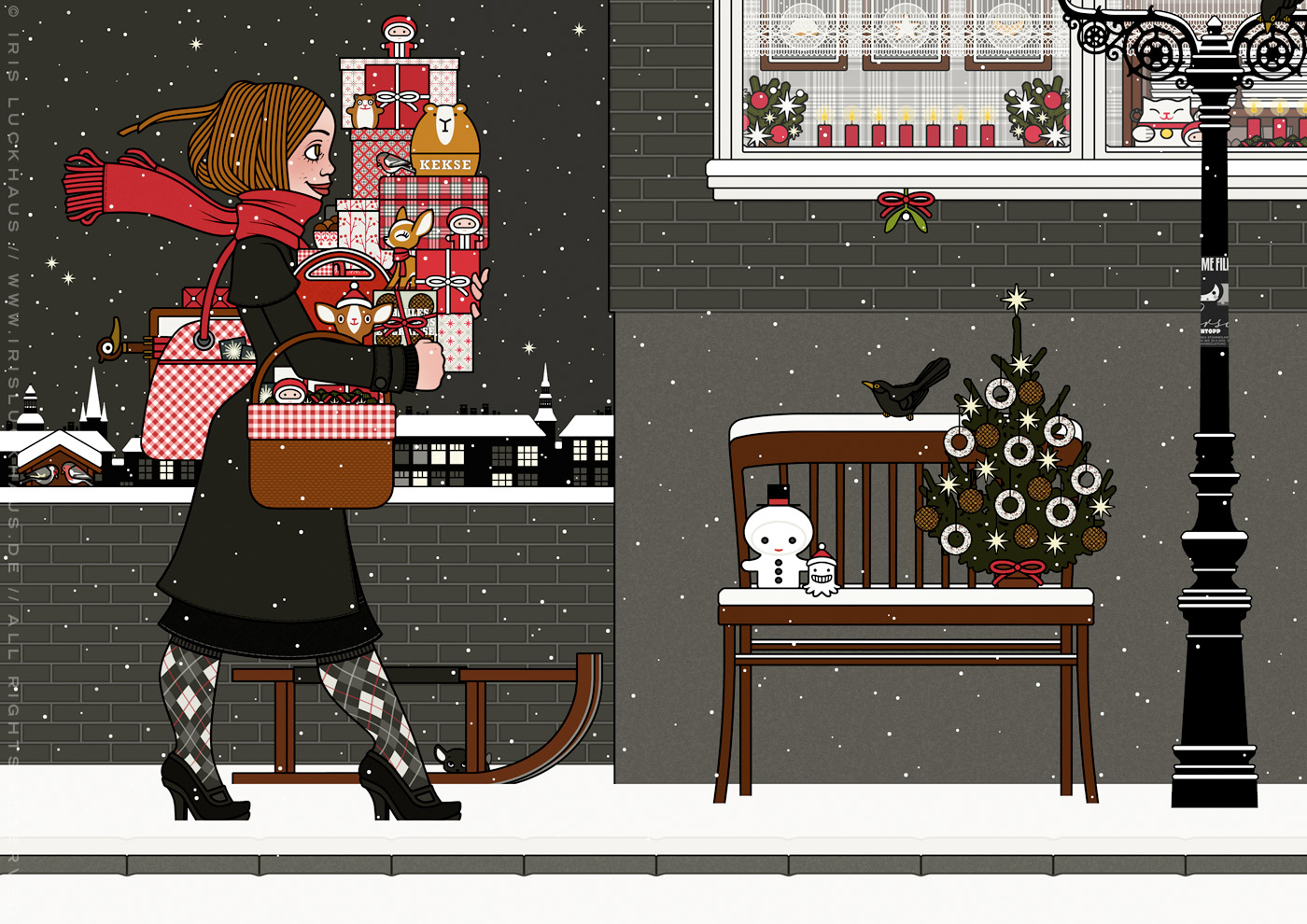 Zeichnung von einem Mädchen mit rotem Schal, das mit Geschenken bepackt auf der Straße im Schnee unterwegs zu einer Weihnachtsfeier ist, für Lily Lux von Iris Luckhaus