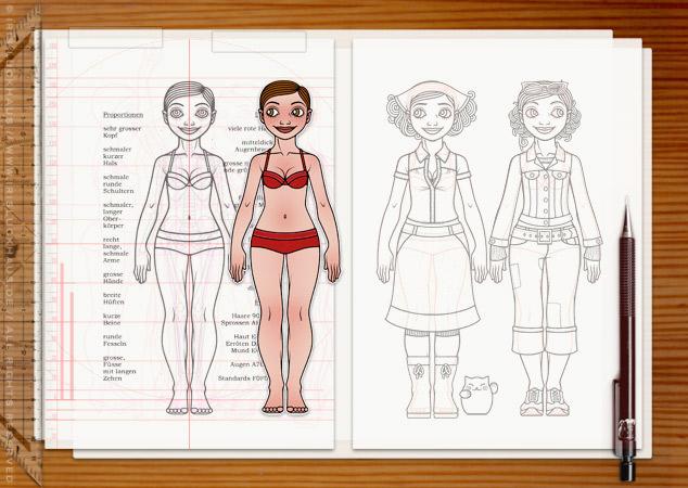 Making of Lily Lux Character Design, Figuren, Kleidung und Skizzen auf dem Basteltisch