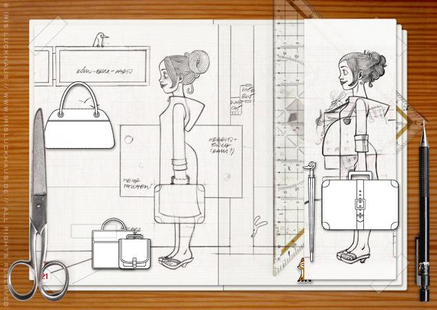 Making of Lily Lux Szenen mit Skizzen auf dem Basteltisch