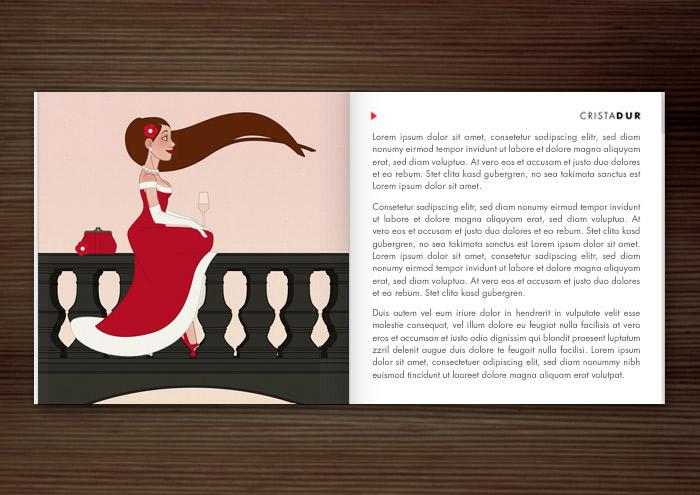 Materialbroschüre der Firma Schock mit der Illustration einer schönen Frau im roten Abendkleid, die bei Sonnenaufgang Champagner auf einer Brücke in Paris trinkt