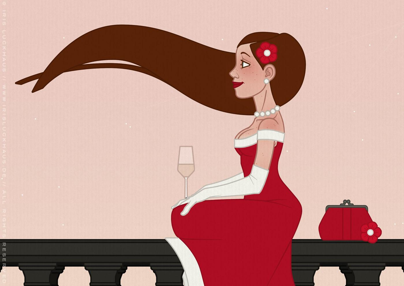 Ausschnitt aus der Illustration einer schönen Frau im roten Abendkleid, die bei Sonnenaufgang Champagner auf einer Brücke in Paris trinkt, für eine Materialbroschüre der Firma Schock