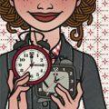 Lily Lux Passbild mit Uhren zur Zeitumstellung