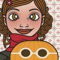 Lily Lux Passbild mit Kürbis als Mädchen