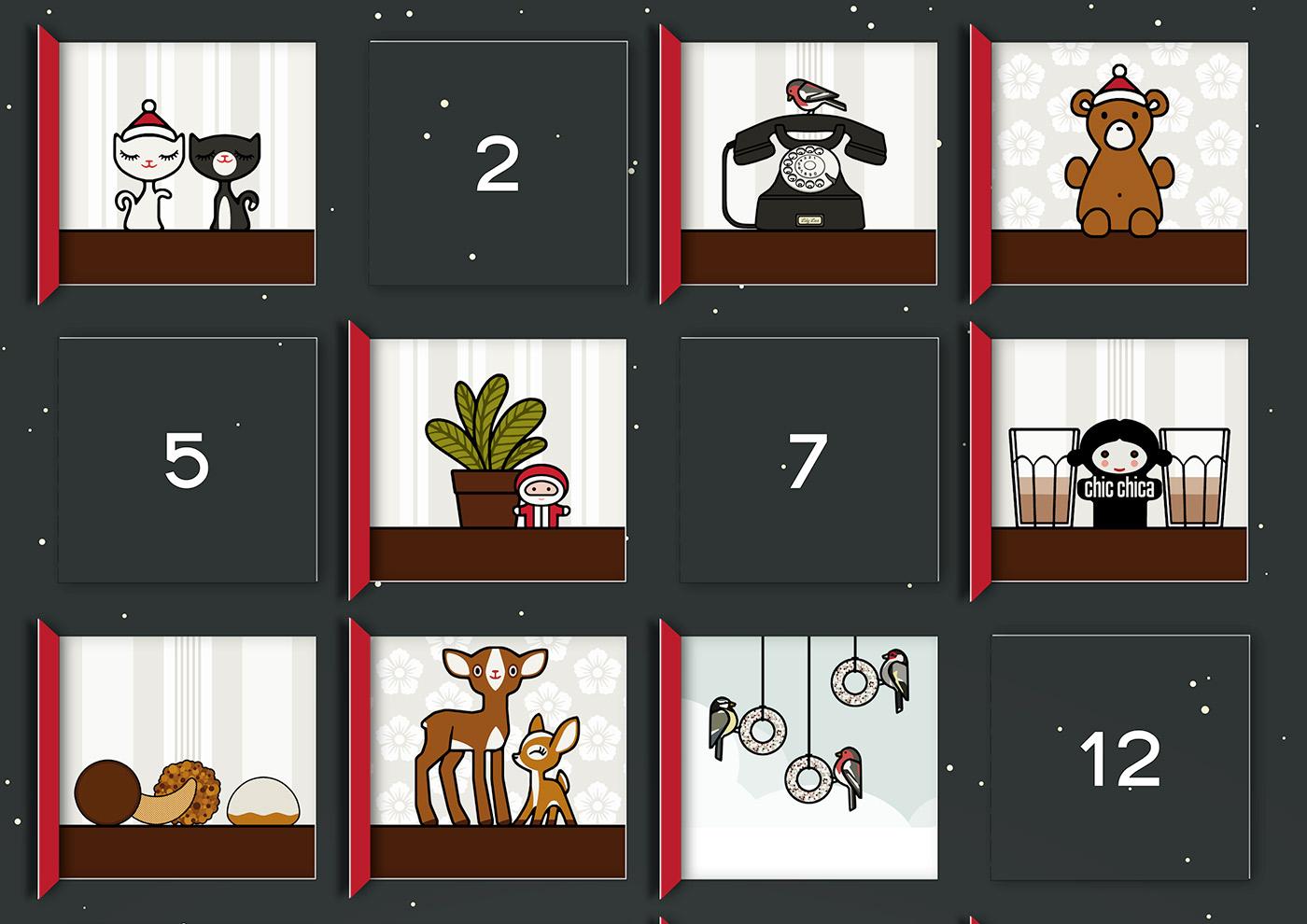 Lily Lux Bastelvorlage für Adventskalender mit 24 Bildchen zum Selberbasteln nach Lily Lux Bastelvorlage
