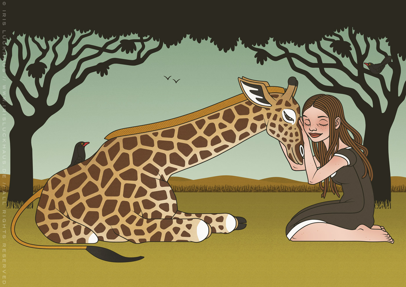 Zeichnung von Mädchen und Giraffe als Freundinnen in der Savanne für den Empathie-Trainer EmpaTrain
