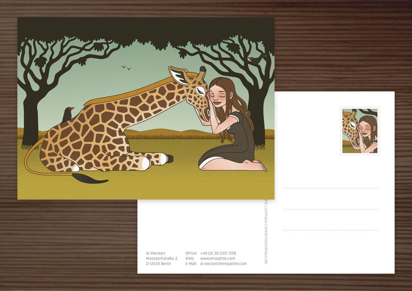 Postkarte mit einer Zeichnung von Mädchen und Giraffe als Freundinnen in der Savanne für den Empathie-Trainer EmpaTrain