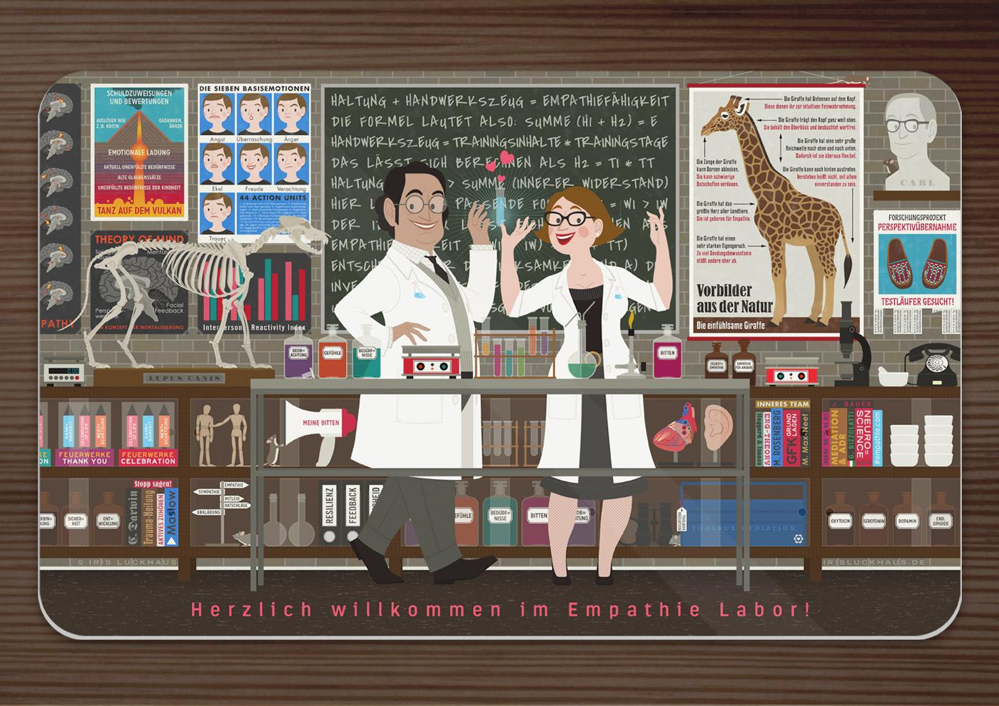 Frühstücksbrettchen mit einem Empathie-Labor, wo Chemikerin und Chemiker in einem Labor mit Reagenzgläsern und Laborkolben, einem Wolfsskelett und Infografik zu Mimikresonanz, Vulkan und Giraffe die Formel für Empathie finden, für EmpaTrain