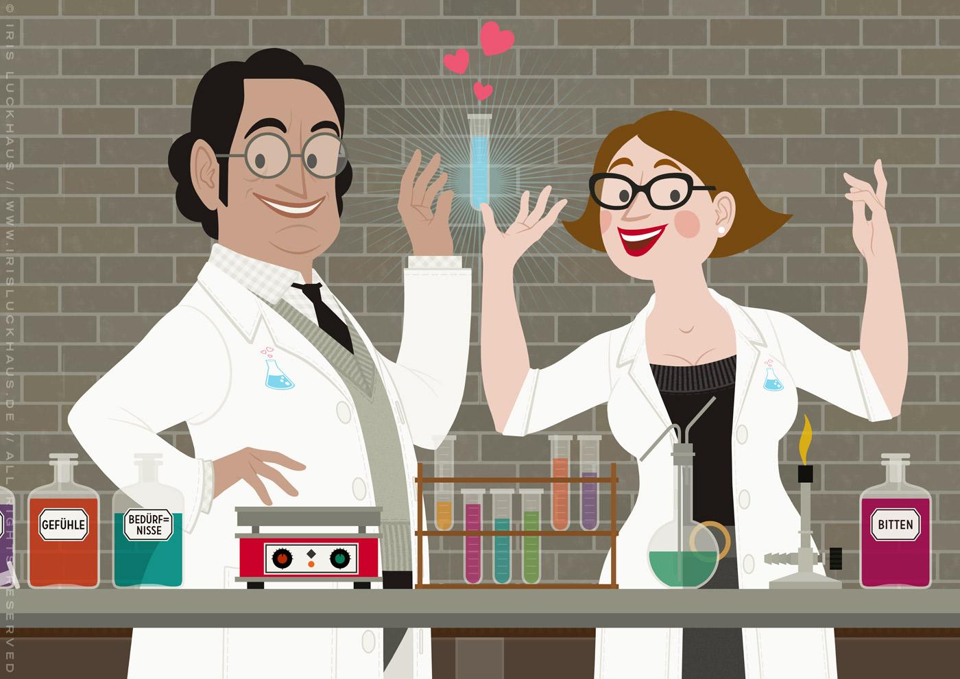 Ausschnitt mit Chemikerin, Chemiker und Reagenzglas mit Empathieformel im Empathie-Labor für EmpaTrain