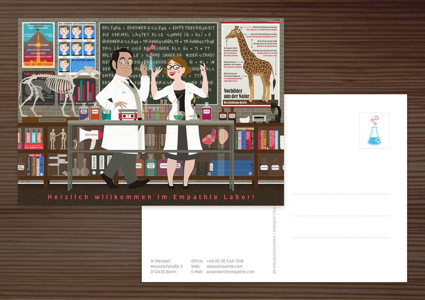 Postkarte mit einem Empathie-Labor, wo Chemikerin und Chemiker in einem Labor mit Reagenzgläsern und Laborkolben, einem Wolfsskelett und Infografik zu Mimikresonanz, Vulkan und Giraffe die Formel für Empathie finden, für EmpaTrain