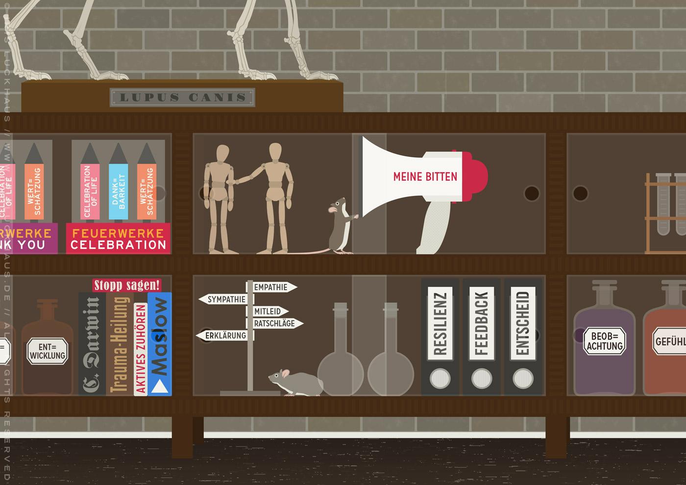 Ausschnitt mit Raketen, Apothekengläsern, Wegweiser, Gliederpuppen, Megafon und Maus aus dem Empathie-Labor für EmpaTrain