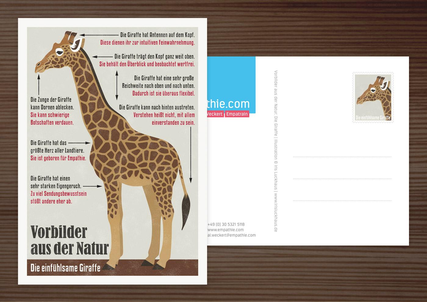 Postkarte mit Retro Infografik Die einfühlsame Giraffe für den Empathie-Trainer EmpaTrain