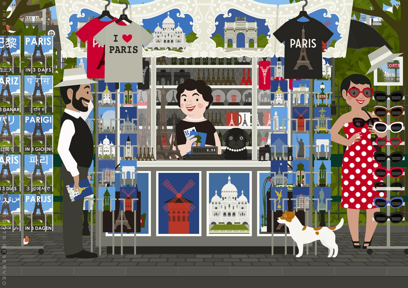 Zeichnung von einem Paar, an einem Straßenstand Souvenirs von Paris wie Plakate, Reiseführer, Postkarten, Shirts und Sonnenbrillen bei einer Souvenirverkäuferin mit Mops anschaut, aufprobiert und kauft