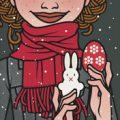 Lily Lux Passbild zu Ostern mit Ei, Hase und Schnee